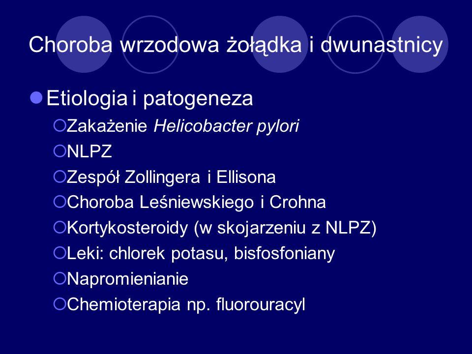 Choroba wrzodowa żołądka i dwunastnicy Etiologia i patogeneza Zakażenie Helicobacter pylori NLPZ Zespół Zollingera i Ellisona Choroba Leśniewskiego i
