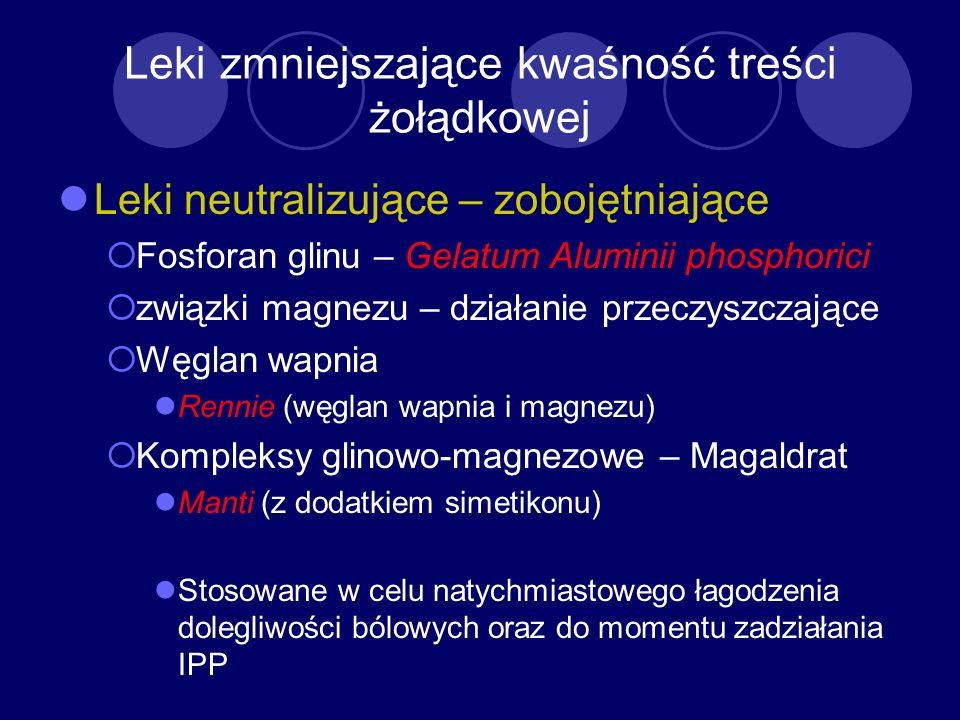 Leki zmniejszające kwaśność treści żołądkowej Leki neutralizujące – zobojętniające Fosforan glinu – Gelatum Aluminii phosphorici związki magnezu – dzi