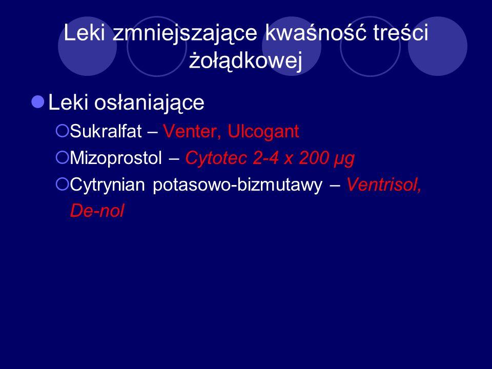 Leki zmniejszające kwaśność treści żołądkowej Leki osłaniające Sukralfat – Venter, Ulcogant Mizoprostol – Cytotec 2-4 x 200 μg Cytrynian potasowo-bizm