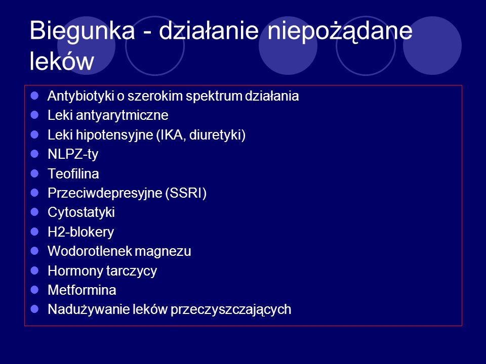 Biegunka - działanie niepożądane leków Antybiotyki o szerokim spektrum działania Leki antyarytmiczne Leki hipotensyjne (IKA, diuretyki) NLPZ-ty Teofil