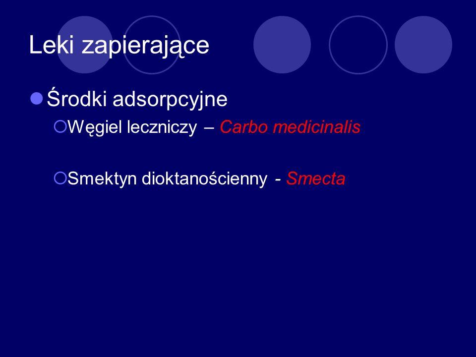 Leki zapierające Środki adsorpcyjne Węgiel leczniczy – Carbo medicinalis Smektyn dioktanościenny - Smecta