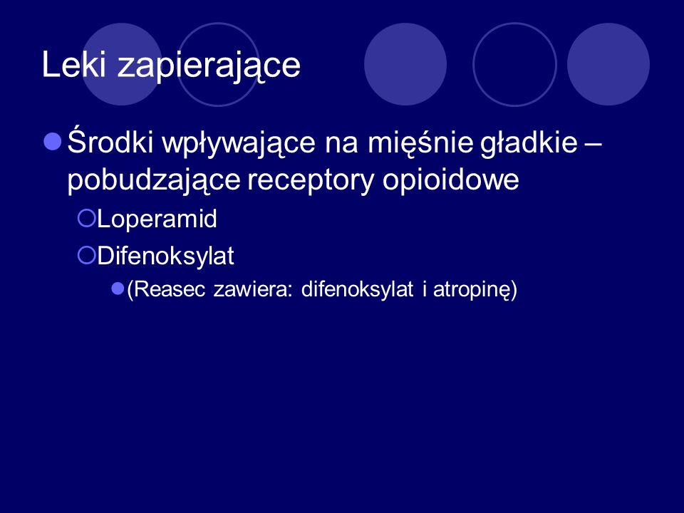 Leki zapierające Środki wpływające na mięśnie gładkie – pobudzające receptory opioidowe Loperamid Difenoksylat (Reasec zawiera: difenoksylat i atropin