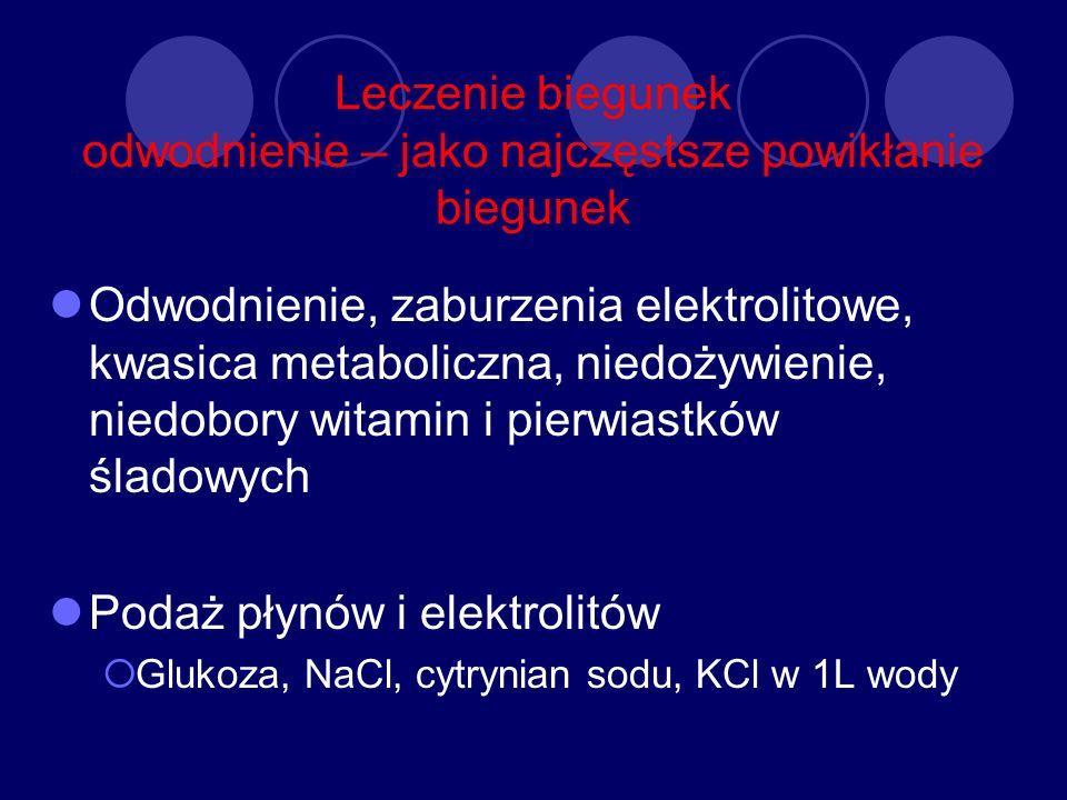 Leczenie biegunek odwodnienie – jako najczęstsze powikłanie biegunek Odwodnienie, zaburzenia elektrolitowe, kwasica metaboliczna, niedożywienie, niedo