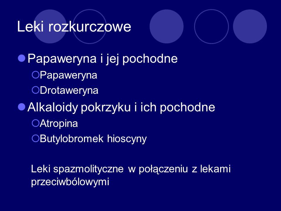 Leki rozkurczowe Papaweryna i jej pochodne Papaweryna Drotaweryna Alkaloidy pokrzyku i ich pochodne Atropina Butylobromek hioscyny Leki spazmolityczne