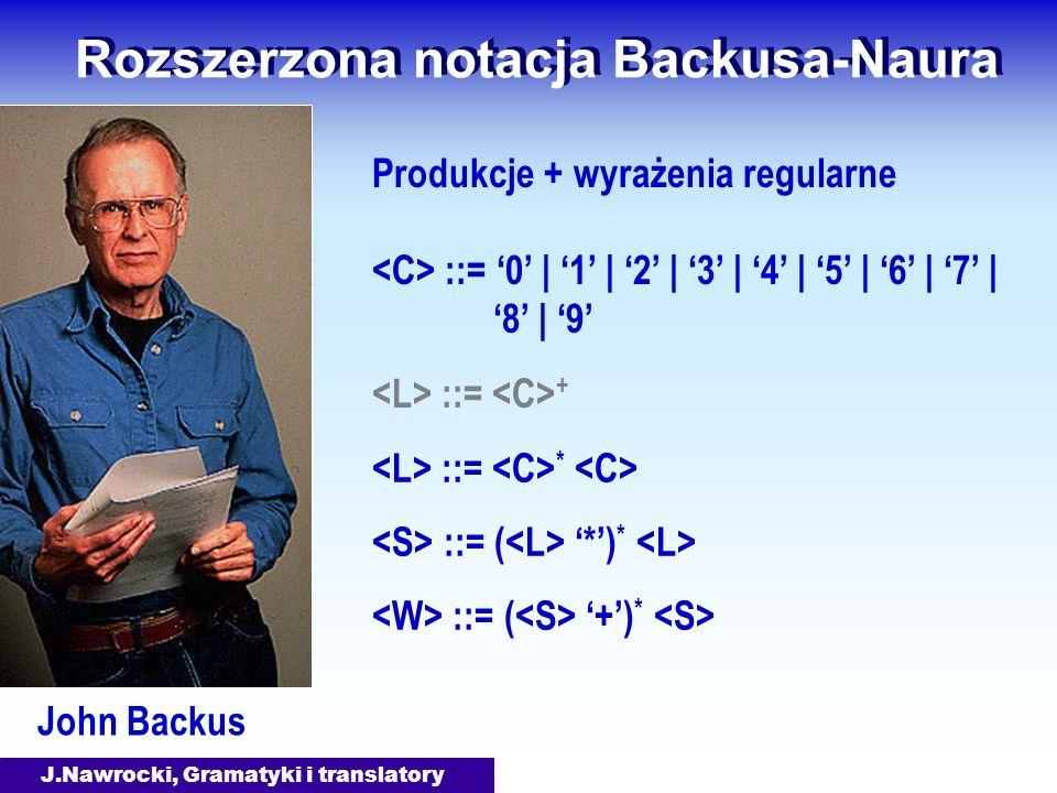 J.Nawrocki, Gramatyki i translatory Rozszerzona notacja Backusa-Naura John Backus Produkcje + wyrażenia regularne ::= 0 | 1 | 2 | 3 | 4 | 5 | 6 | 7 | 8 | 9 ::= + ::= * ::= ( *) * ::= ( +) *