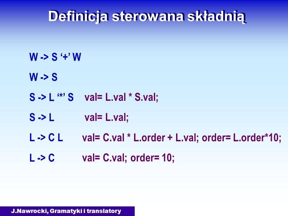 J.Nawrocki, Gramatyki i translatory Definicja sterowana składnią W -> S + W W -> S S -> L * S S -> L L -> C L L -> C val= C.val * L.order + L.val; ord