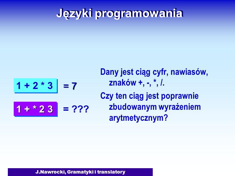 J.Nawrocki, Gramatyki i translatory Język formalny Gramatyka G = {S, N, T, P} S – Symbol początkowy N – Zbiór symboli nieterminalnych T – Zbiór symboli terminalnych P – Zbiór produkcji L(G) = {x T*: S x + } Język formalny L zdefiniowany przez gramatykę G: