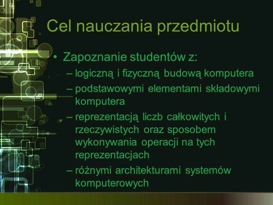 Cel nauczania przedmiotu Zapoznanie studentów z: –logiczną i fizyczną budową komputera –podstawowymi elementami składowymi komputera –reprezentacją li