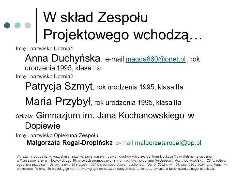 W skład Zespołu Projektowego wchodzą… Imię i nazwisko Ucznia1 Anna Duchyńska, e-mail magda860@onet.pl, rok urodzenia 1995, klasa IIamagda860@onet.pl I