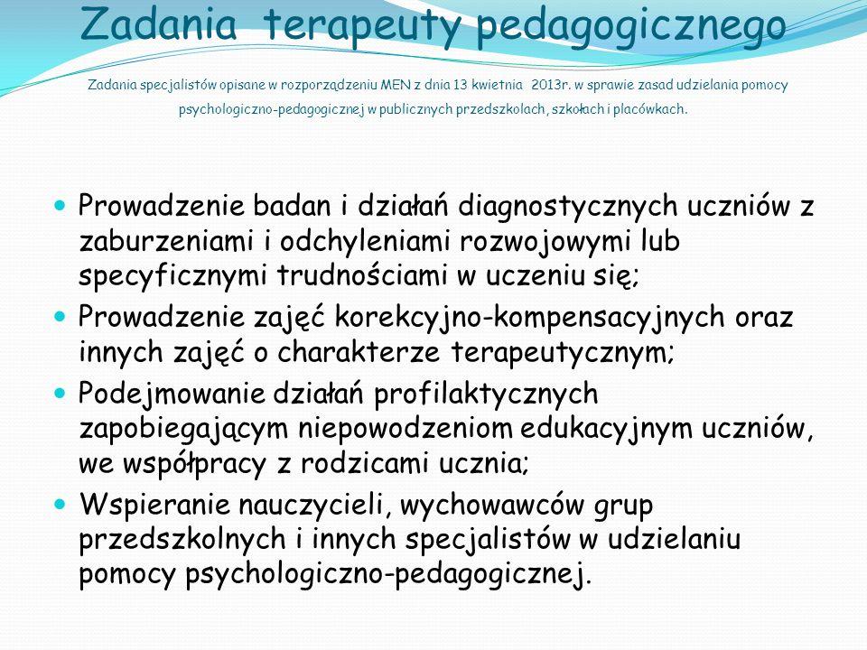 Cele terapii pedagogicznej stymulowanie i usprawnianie rozwoju funkcji psychomotorycznych; wyrównywanie braków w wiadomościach i umiejętnościach uczniów; eliminowanie niepowodzeń szkolnych oraz ich emocjonalnych i społecznych konsekwencji.