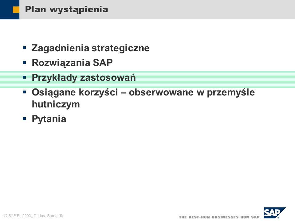 SAP PL 2003,, Dariusz Samól 19 Plan wystąpienia Zagadnienia strategiczne Rozwiązania SAP Przykłady zastosowań Osiągane korzyści – obserwowane w przemy