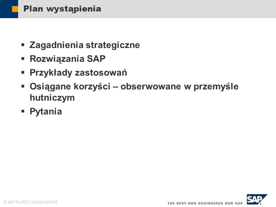 SAP PL 2003,, Dariusz Samól 2 Plan wystąpienia Zagadnienia strategiczne Rozwiązania SAP Przykłady zastosowań Osiągane korzyści – obserwowane w przemyś