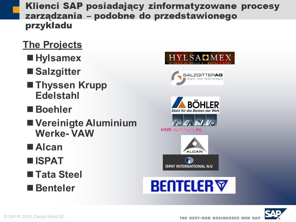 SAP PL 2003,, Dariusz Samól 22 Klienci SAP posiadający zinformatyzowane procesy zarządzania – podobne do przedstawionego przykładu The Projects Hylsam