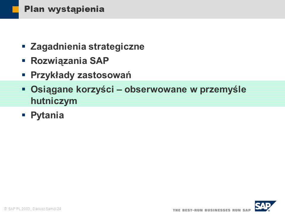 SAP PL 2003,, Dariusz Samól 24 Plan wystąpienia Zagadnienia strategiczne Rozwiązania SAP Przykłady zastosowań Osiągane korzyści – obserwowane w przemy
