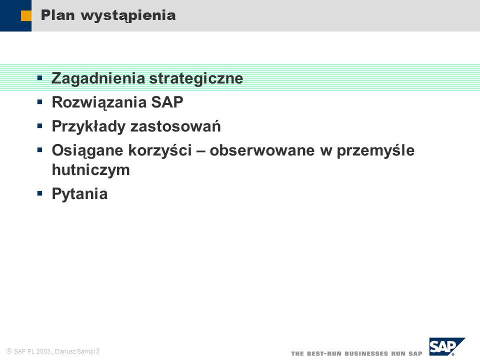 SAP PL 2003,, Dariusz Samól 3 Plan wystąpienia Zagadnienia strategiczne Rozwiązania SAP Przykłady zastosowań Osiągane korzyści – obserwowane w przemyś