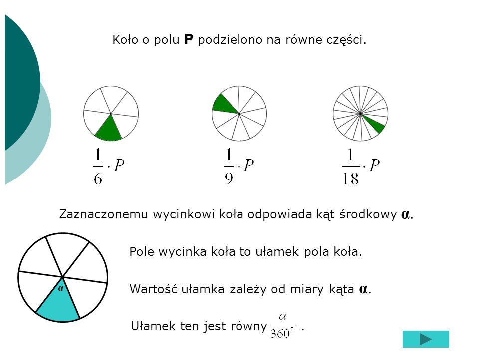 Koło o polu P podzielono na równe części. Pole wycinka koła to ułamek pola koła. Zaznaczonemu wycinkowi koła odpowiada kąt środkowy α. Wartość ułamka