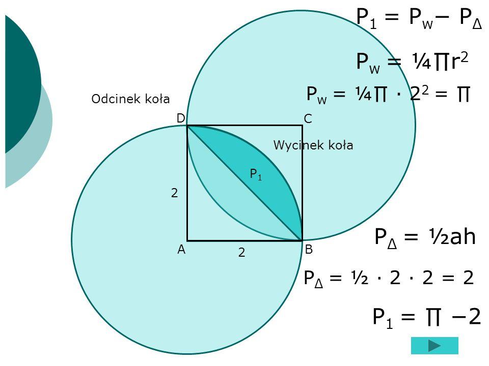 AB C D 2 2 Odcinek koła Wycinek koła P1P1 P 1 = P w P Δ P w = ¼r 2 P w = ¼ 2 2 = P Δ = ½ah P Δ = ½ 2 2 = 2 P 1 = 2