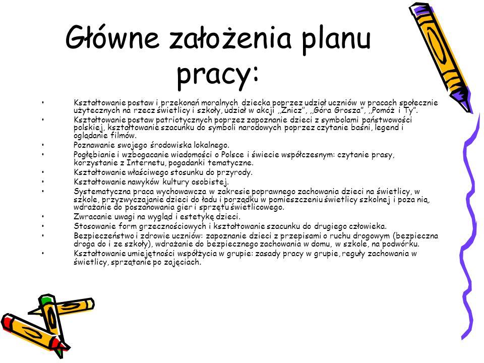 Dokumentacja świetlicy szkolnej: Ramowy plan pracy Semestralne sprawozdania Dziennik zajęć wychowawczych Karty zgłoszeń