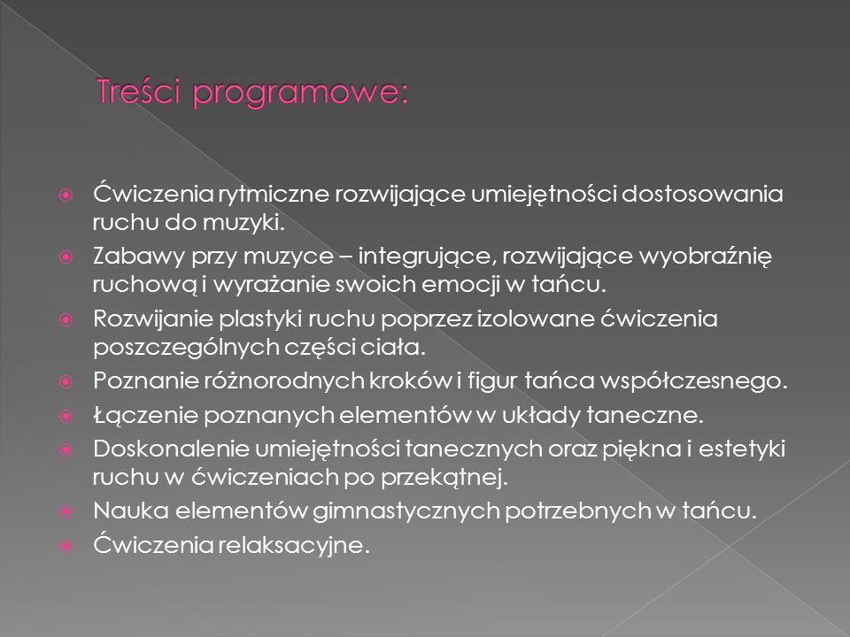 Ćwiczenia rytmiczne rozwijające umiejętności dostosowania ruchu do muzyki.