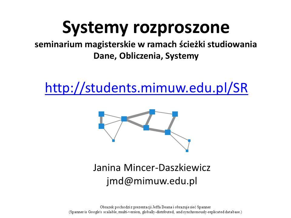 Systemy rozproszone seminarium magisterskie w ramach ścieżki studiowania Dane, Obliczenia, Systemy Janina Mincer-Daszkiewicz jmd@mimuw.edu.pl http://s