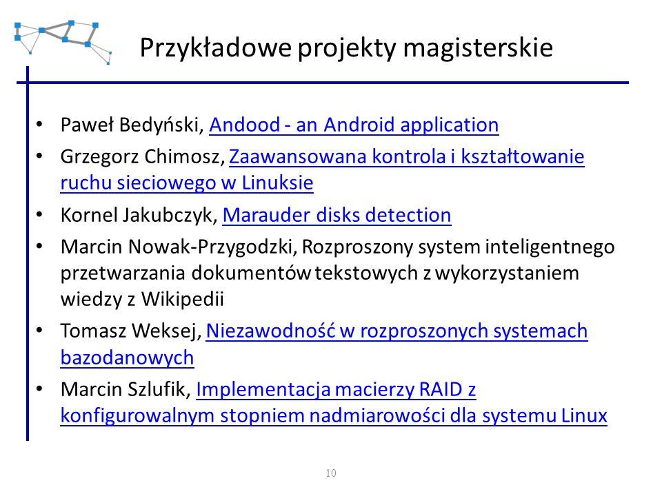 10 Przykładowe projekty magisterskie Paweł Bedyński, Andood - an Android applicationAndood - an Android application Grzegorz Chimosz, Zaawansowana kon