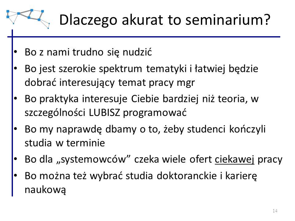 14 Dlaczego akurat to seminarium? Bo z nami trudno się nudzić Bo jest szerokie spektrum tematyki i łatwiej będzie dobrać interesujący temat pracy mgr