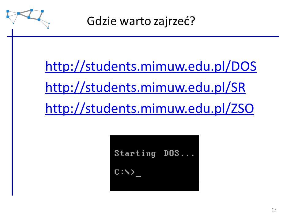 15 Gdzie warto zajrzeć? http://students.mimuw.edu.pl/DOS http://students.mimuw.edu.pl/SR http://students.mimuw.edu.pl/ZSO