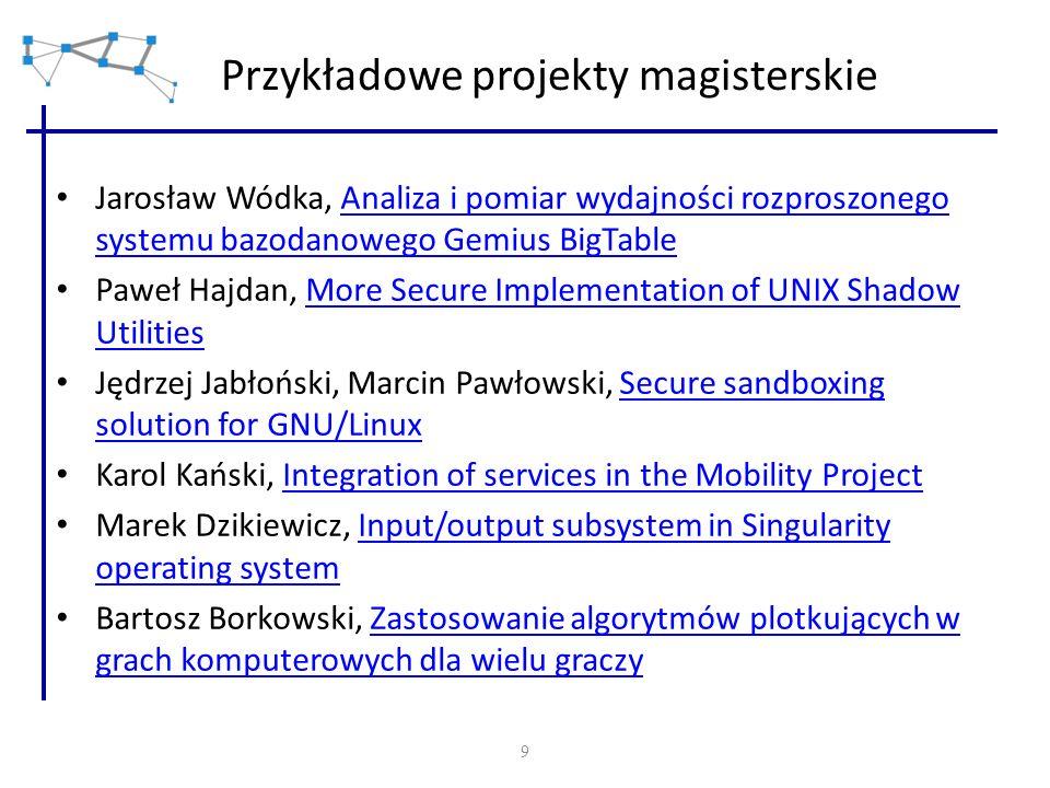 9 Przykładowe projekty magisterskie Jarosław Wódka, Analiza i pomiar wydajności rozproszonego systemu bazodanowego Gemius BigTableAnaliza i pomiar wyd