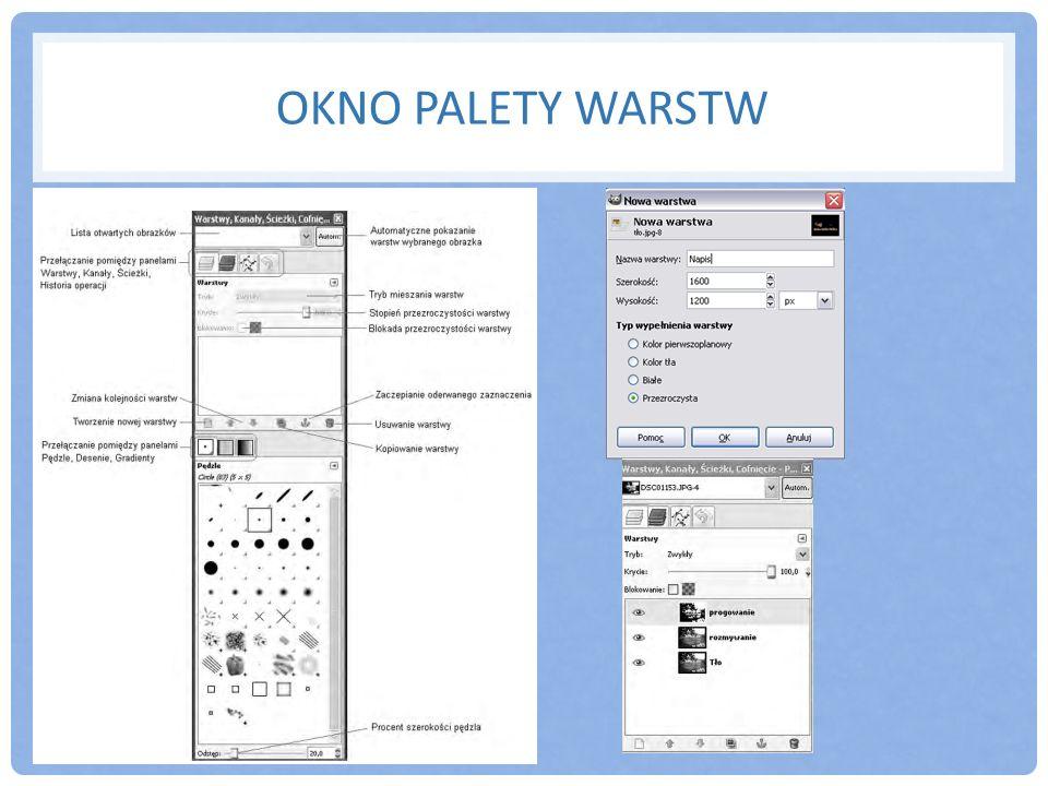 OKNO PALETY WARSTW