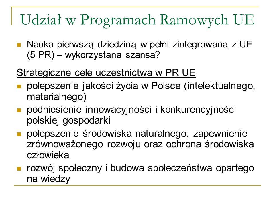 Udział w Programach Ramowych UE Nauka pierwszą dziedziną w pełni zintegrowaną z UE (5 PR) – wykorzystana szansa? Strategiczne cele uczestnictwa w PR U