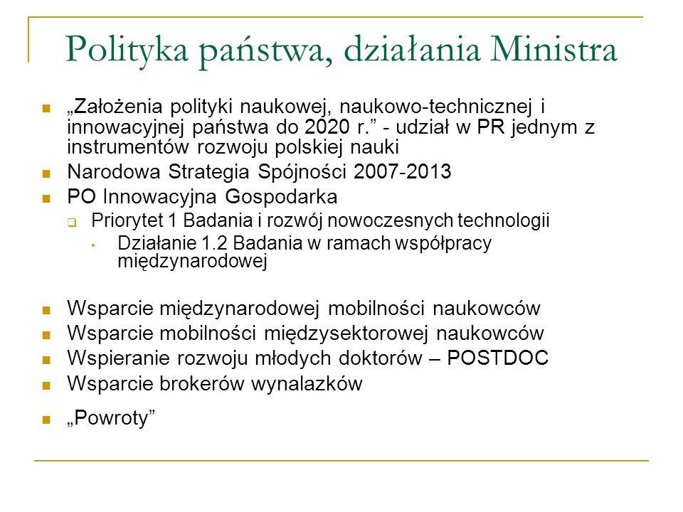 Polityka państwa, działania Ministra Założenia polityki naukowej, naukowo-technicznej i innowacyjnej państwa do 2020 r. - udział w PR jednym z instrum
