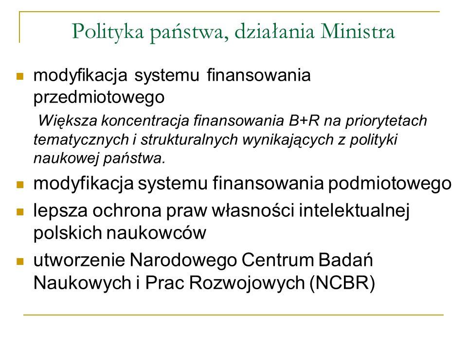 Polityka państwa, działania Ministra modyfikacja systemu finansowania przedmiotowego Większa koncentracja finansowania B+R na priorytetach tematycznyc