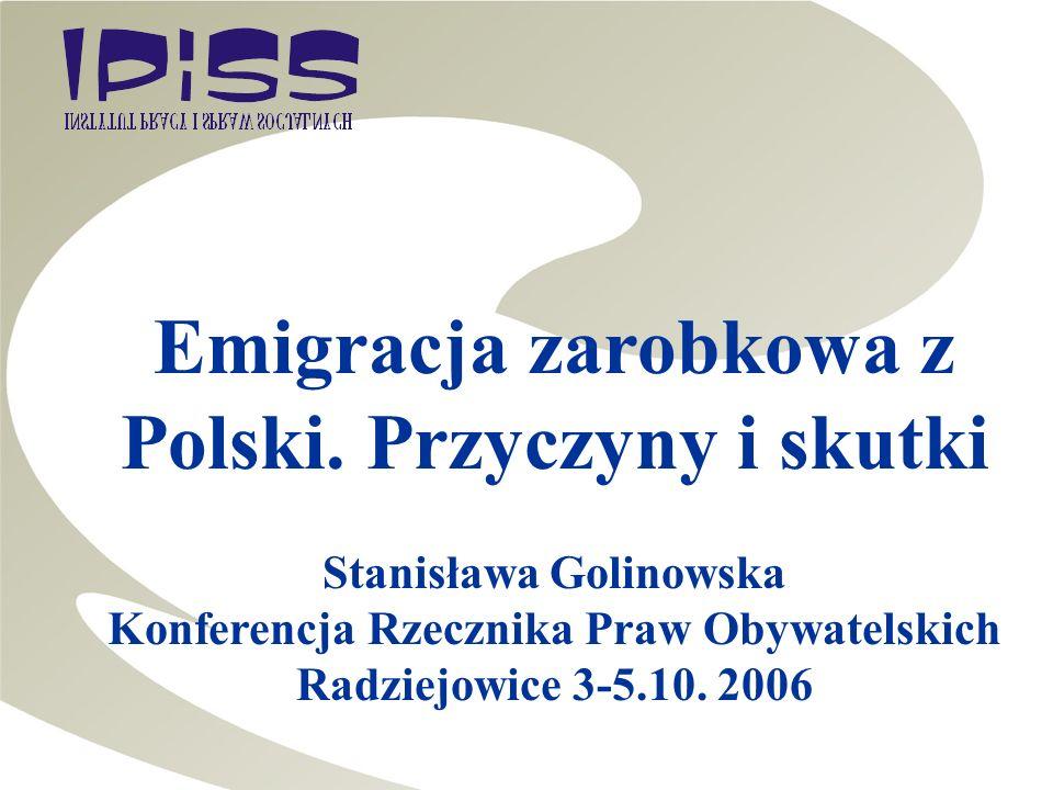 Emigracja zarobkowa z Polski. Przyczyny i skutki Stanisława Golinowska Konferencja Rzecznika Praw Obywatelskich Radziejowice 3-5.10. 2006