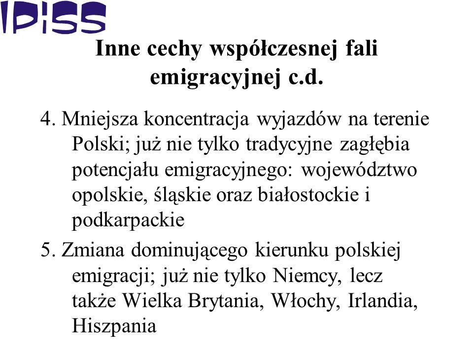 Inne cechy współczesnej fali emigracyjnej c.d. 4. Mniejsza koncentracja wyjazdów na terenie Polski; już nie tylko tradycyjne zagłębia potencjału emigr