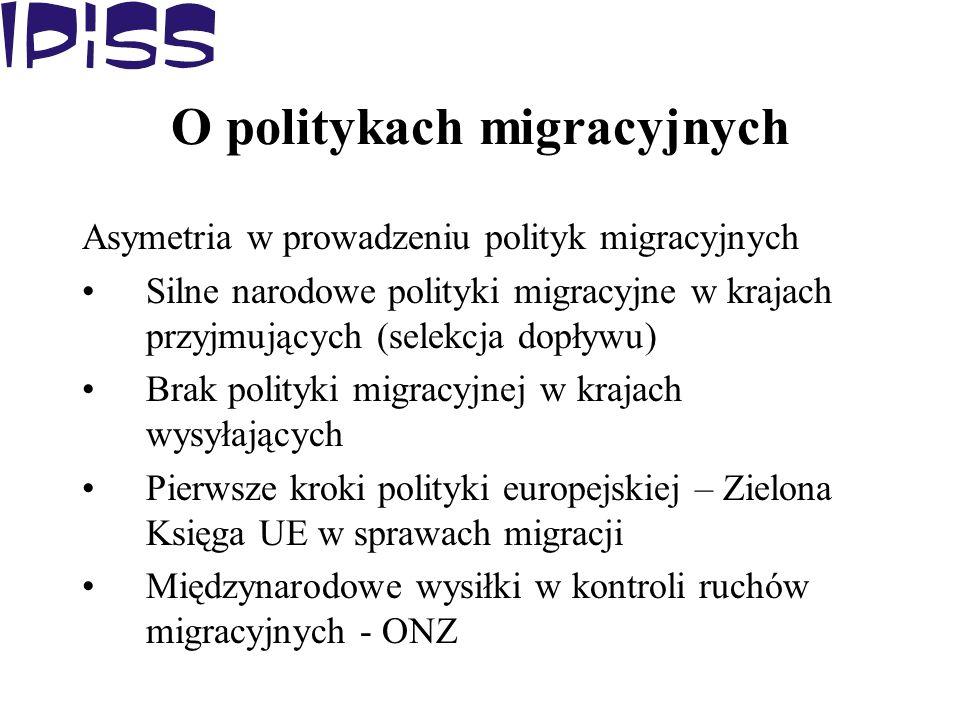 O politykach migracyjnych Asymetria w prowadzeniu polityk migracyjnych Silne narodowe polityki migracyjne w krajach przyjmujących (selekcja dopływu) B