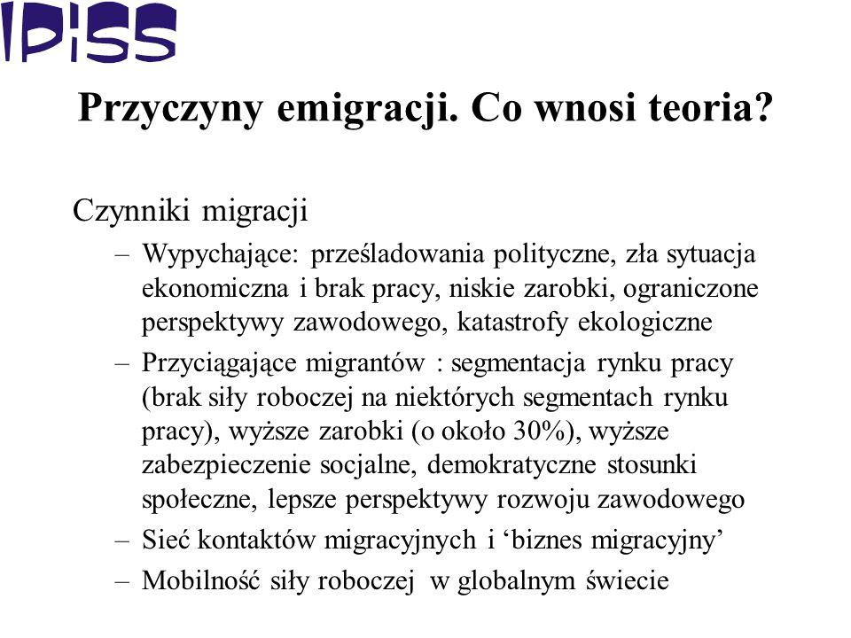 Przyczyny emigracji. Co wnosi teoria? Czynniki migracji –Wypychające: prześladowania polityczne, zła sytuacja ekonomiczna i brak pracy, niskie zarobki