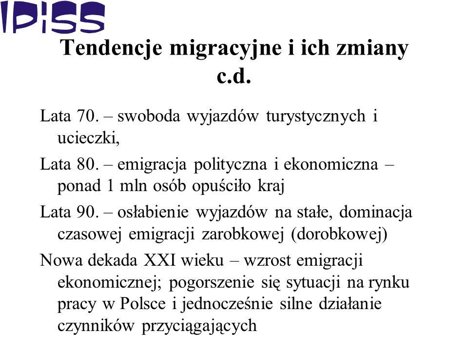 Tendencje migracyjne i ich zmiany c.d. Lata 70. – swoboda wyjazdów turystycznych i ucieczki, Lata 80. – emigracja polityczna i ekonomiczna – ponad 1 m
