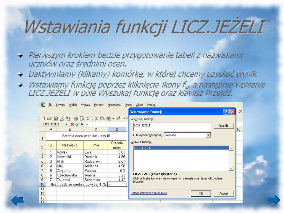 Wstawiania funkcji LICZ.JEŻELI Pierwszym krokiem będzie przygotowanie tabeli z nazwiskami uczniów oraz średnimi ocen. Uaktywniamy (klikamy) komórkę, w