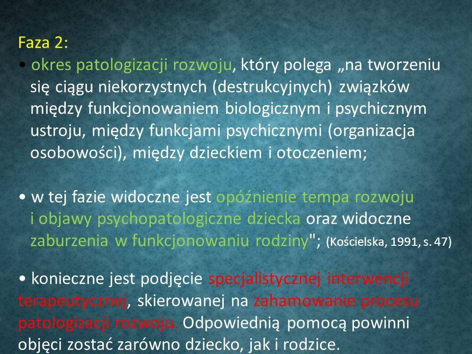 Faza 2: okres patologizacji rozwoju, który polega na tworzeniu się ciągu niekorzystnych (destrukcyjnych) związków między funkcjonowaniem biologicznym