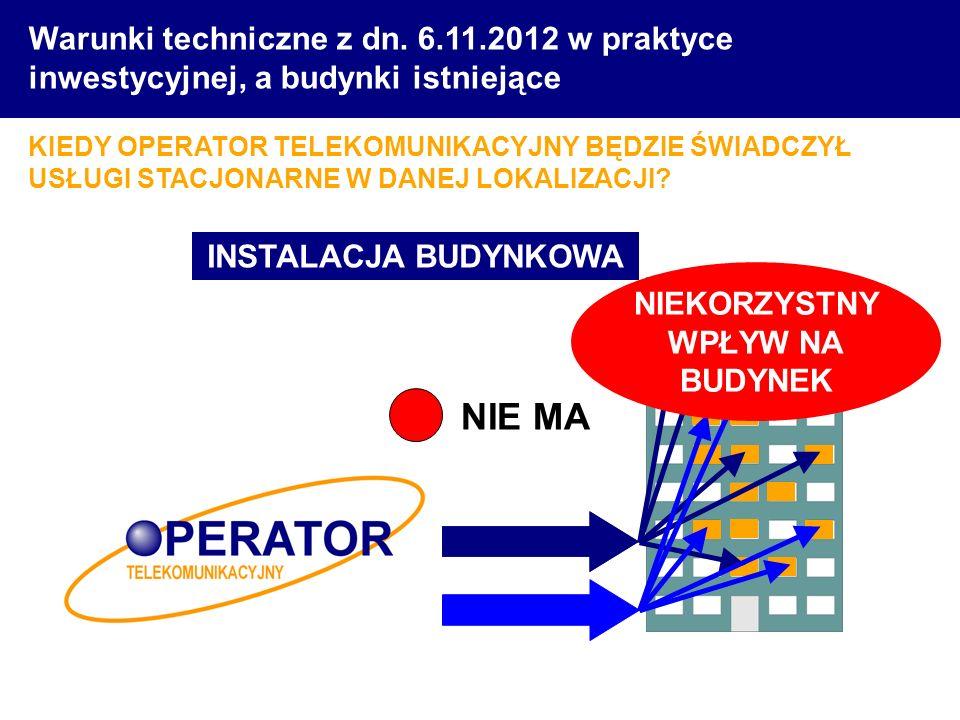 Warunki techniczne z dn. 6.11.2012 w praktyce inwestycyjnej, a budynki istniejące KIEDY OPERATOR TELEKOMUNIKACYJNY BĘDZIE ŚWIADCZYŁ USŁUGI STACJONARNE