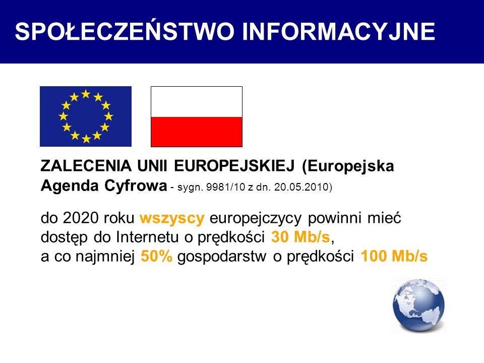 SPOŁECZEŃSTWO INFORMACYJNE ZALECENIA UNII EUROPEJSKIEJ (Europejska Agenda Cyfrowa - sygn. 9981/10 z dn. 20.05.2010) do 2020 roku wszyscy europejczycy