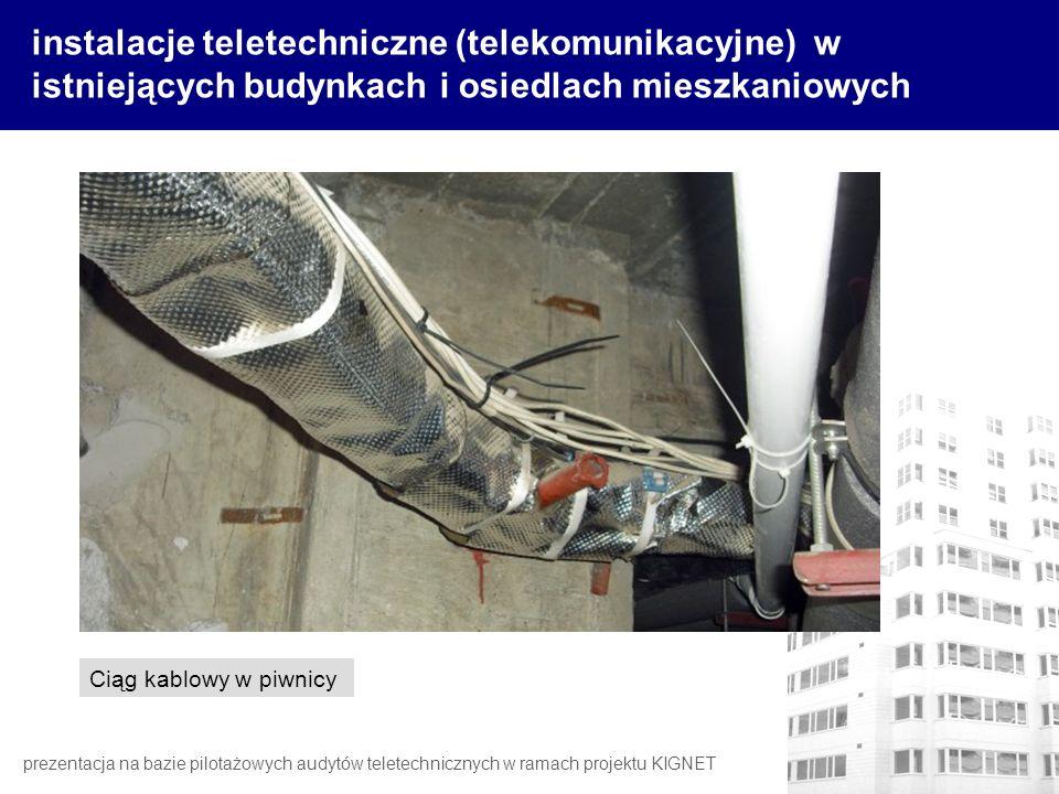instalacje teletechniczne (telekomunikacyjne) w istniejących budynkach i osiedlach mieszkaniowych Ciąg kablowy w piwnicy prezentacja na bazie pilotażo