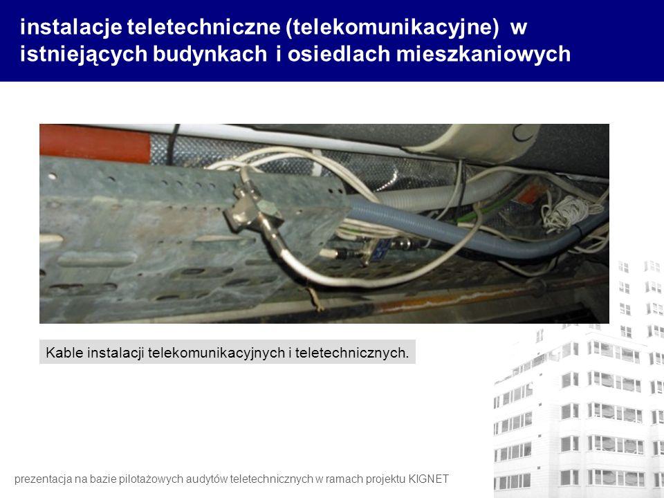 instalacje teletechniczne (telekomunikacyjne) w istniejących budynkach i osiedlach mieszkaniowych Kable instalacji telekomunikacyjnych i teletechniczn