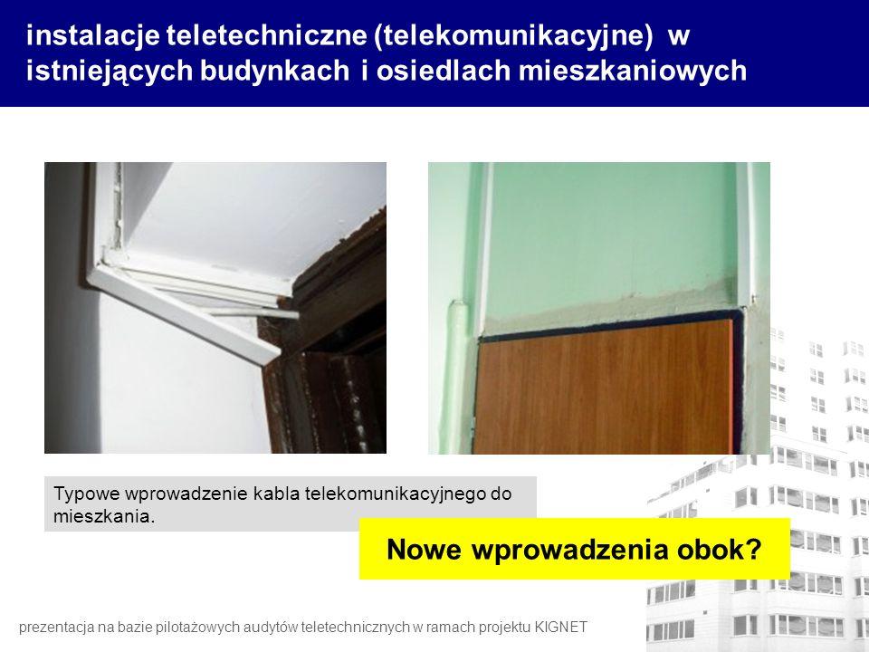 instalacje teletechniczne (telekomunikacyjne) w istniejących budynkach i osiedlach mieszkaniowych Typowe wprowadzenie kabla telekomunikacyjnego do mie