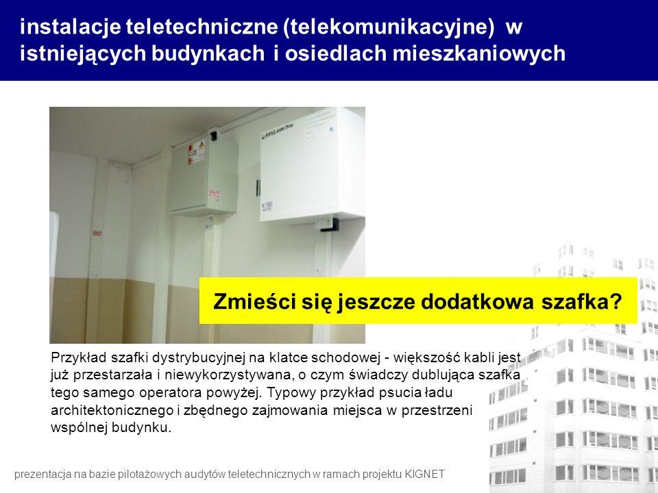 instalacje teletechniczne (telekomunikacyjne) w istniejących budynkach i osiedlach mieszkaniowych prezentacja na bazie pilotażowych audytów teletechni