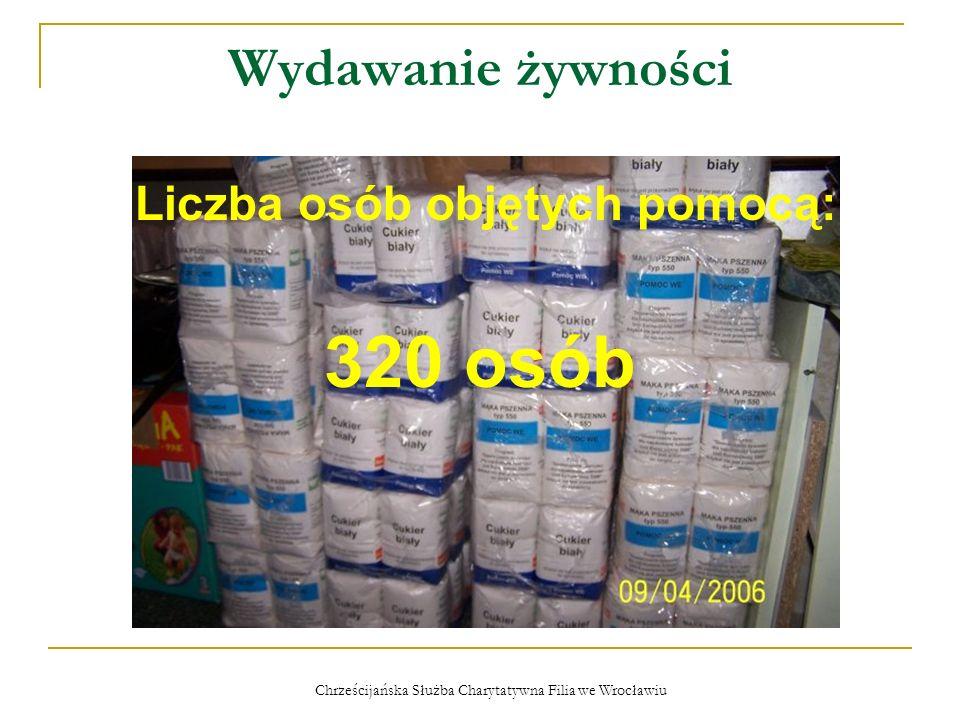 Chrześcijańska Służba Charytatywna Filia we Wrocławiu Wydawanie żywności Liczba osób objętych pomocą: 320 osób