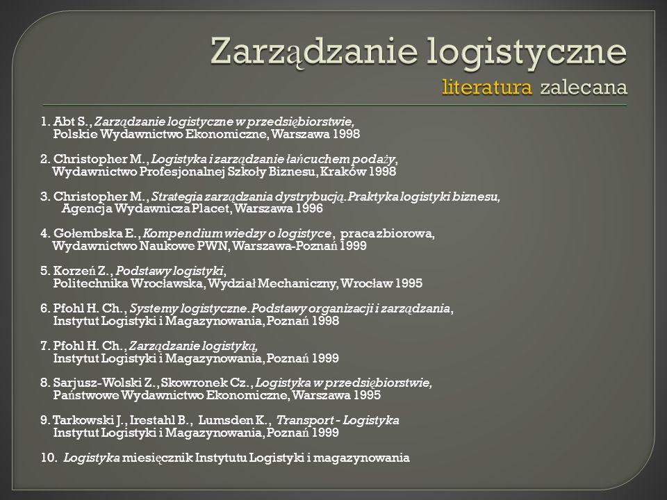 1. Abt S., Zarz ą dzanie logistyczne w przedsi ę biorstwie, Polskie Wydawnictwo Ekonomiczne, Warszawa 1998 2. Christopher M., Logistyka i zarz ą dzani