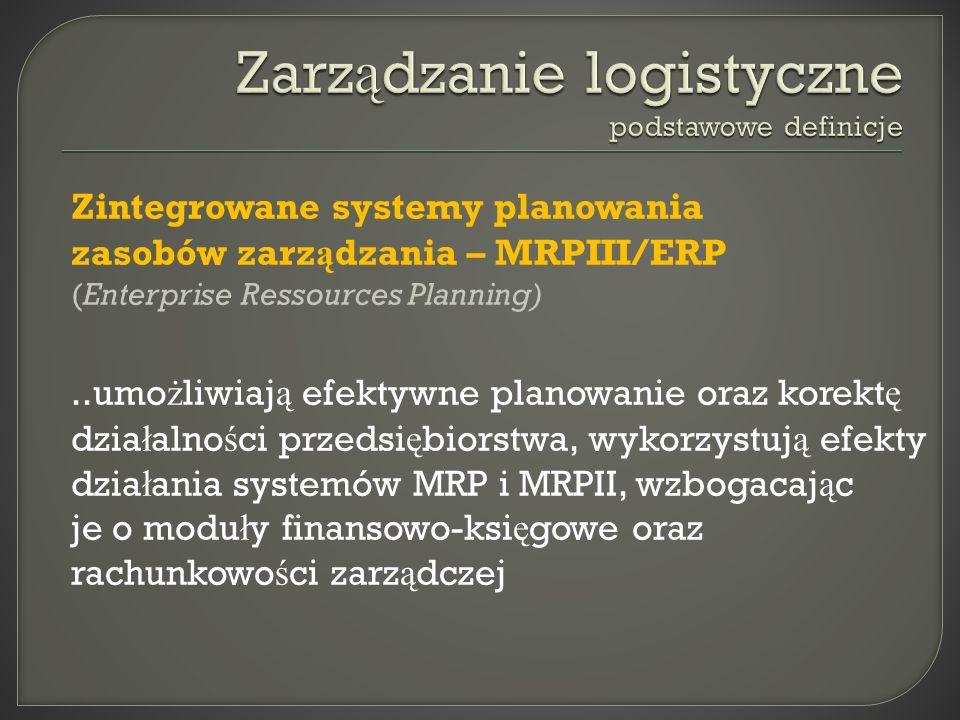 Zintegrowane systemy planowania zasobów zarz ą dzania – MRPIII/ERP (Enterprise Ressources Planning)..umo ż liwiaj ą efektywne planowanie oraz korekt ę