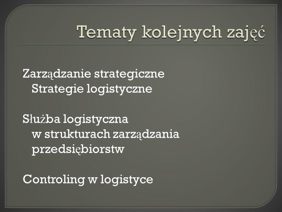 Zarz ą dzanie strategiczne Strategie logistyczne S ł u ż ba logistyczna w strukturach zarz ą dzania przedsi ę biorstw Controling w logistyce