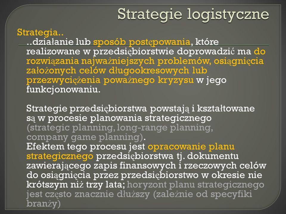 Strategia....dzia ł anie lub sposób post ę powania, które realizowane w przedsi ę biorstwie doprowadzi ć ma do rozwi ą zania najwa ż niejszych problem